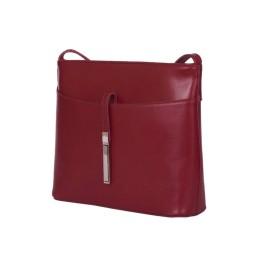 Кожена дамска чанта тип портмоне мини Julia, тъмночервена