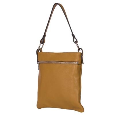 Чанта тип портмоне от естествена кожа Lolita, жълта