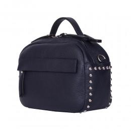 Дамска чанта тип портмоне от естествена кожа Cora, тъмносиня