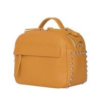 Дамска чанта тип портмоне от естествена кожа Cora, тъмножълта