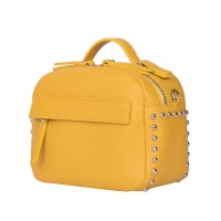 Дамска чанта тип портмоне от естествена кожа Cora, жълта