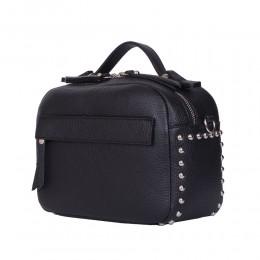 Дамска чанта тип портмоне от естествена кожа Cora, черна