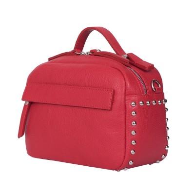 Дамска чанта тип портмоне от естествена кожа Cora, червена