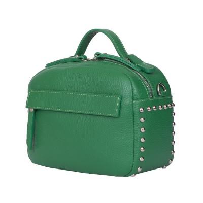 Дамска чанта тип портмоне от естествена кожа Cora, зелена