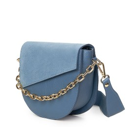 Дамска чанта Donna от естествена кожа, светлосиня