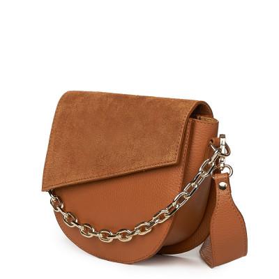 Дамска чанта Donna от естествена кожа, коняк