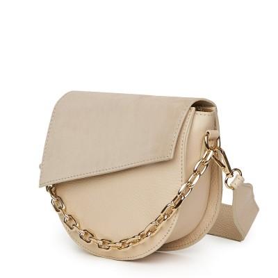 Дамска чанта Donna от естествена кожа, светло бежова