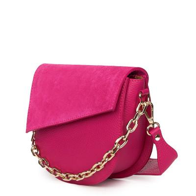 Дамска чанта Donna от естествена кожа, фуксия
