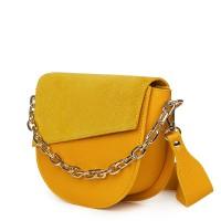 Дамска чанта Donna от естествена кожа, жълта