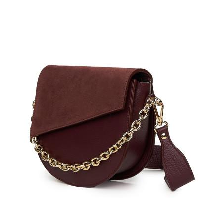 Дамска чанта Donna от естествена кожа, бордо