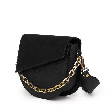 Дамска чанта Donna от естествена кожа, черна
