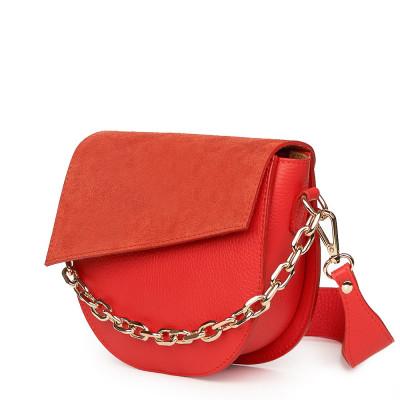 Дамска чанта Donna от естествена кожа, оранжева