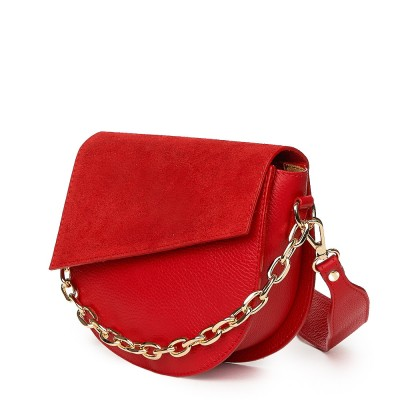 Дамска чанта Donna от естествена кожа, червена