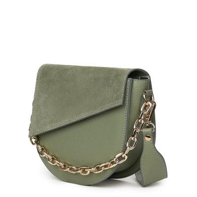 Дамска чанта Donna от естествена кожа, светло зелена