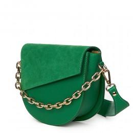 Дамска чанта Donna от естествена кожа, зелена