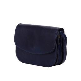 Чанта тип портмоне от естествена кожа Letizia, тъмносиня
