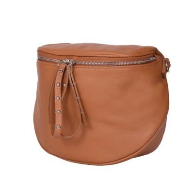 Дамска чанта тип портмоне от естествена кожа Siena, коняк