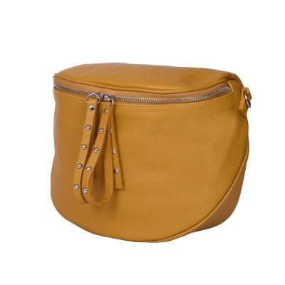 Дамска чанта тип портмоне от естествена кожа Siena, жълта