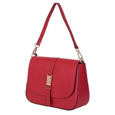 Чанта тип портмоне от естествена кожа Aretha,червена