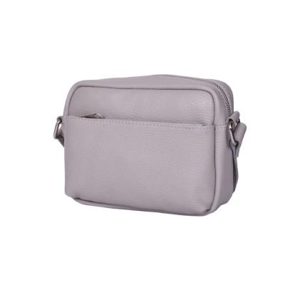 Ежедневна чанта тип портмоне от естествена кожа Azzurra, сива