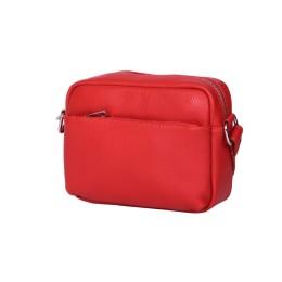 Ежедневна чанта тип портмоне от естествена кожа Azzurra, червена