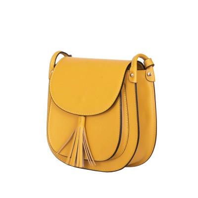 Дамска чанта тип портмоне от естествена кожа Chiara, жълта
