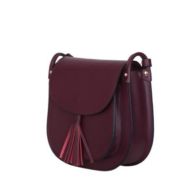 Дамска чанта тип портмоне от естествена кожа Chiara, тъмночервена