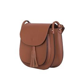 Дамска чанта тип портмоне от естествена кожа Chiara, кафява