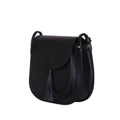 Дамска чанта тип портмоне от естествена кожа Chiara, черна