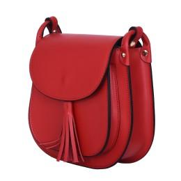 Дамска чанта тип портмоне от естествена кожа Chiara, червена
