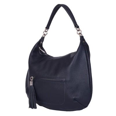 Чанта от естествена кожа Ellie, тъмносиня