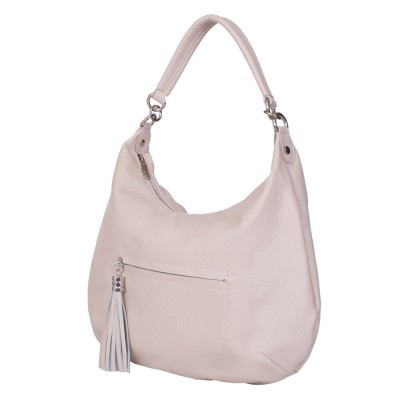 Чанта от естествена кожа Ellie, кремава