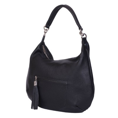 Чанта от естествена кожа Ellie, черна