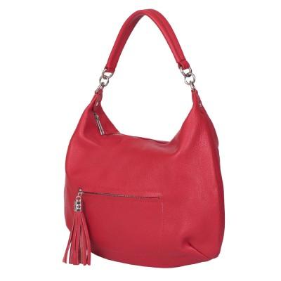 Чанта от естествена кожа Ellie, червена