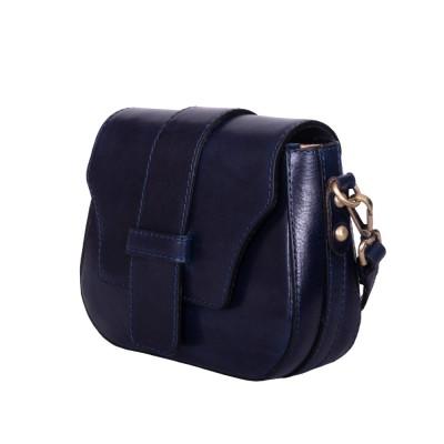 Чанта тип портмоне от естествена кожа Giia, тъмносиня