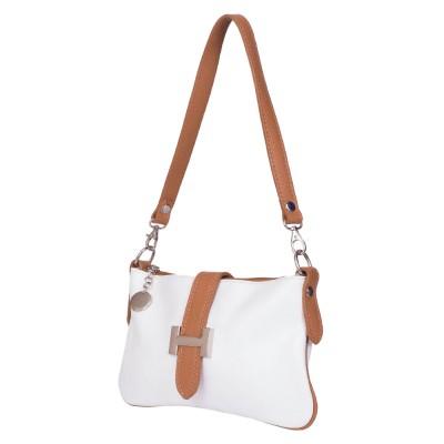 Чанта тип портмоне от естествена кожа Helen, бяла