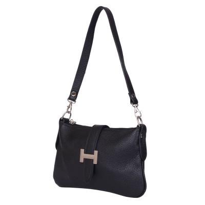 Чантата тип портмоне от естествена кожа Helen, черна