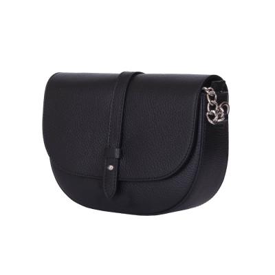 Чантата тип портмоне от естествена кожа Larisa, черна