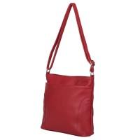 Чантата тип портмоне от естествена кожа Lora, червена