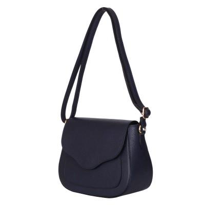 Чантата тип портмоне от естествена кожа Martina, тъмносиня