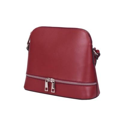 Кожена дамска чанта тип портмоне мини Maya, тъмночервена