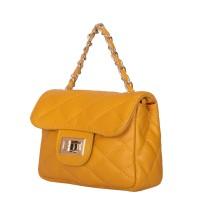 Дамска чанта тип портмоне от естествена кожа Ariadna, жълта
