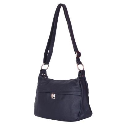 Чанта тип портмоне от естествена кожа Amelia, тъмносиня