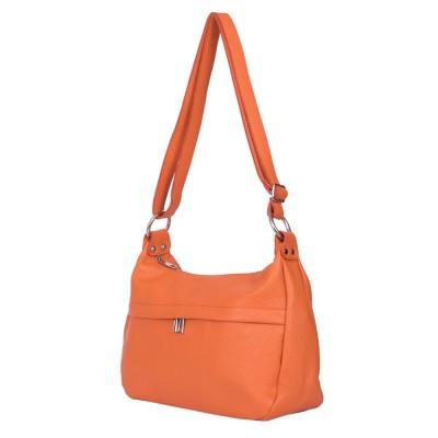 Чантата тип портмоне от естествена кожа Amelia, оранжева