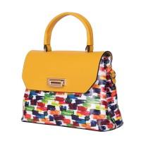 Кожена чанта тип портмоне Beatrice,  жълта