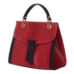 Чантата тип портмоне от естествена кожа Carisma, червена