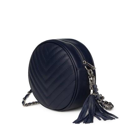 Кръгла капитонирана кожена чанта Zeta, тъмносиня