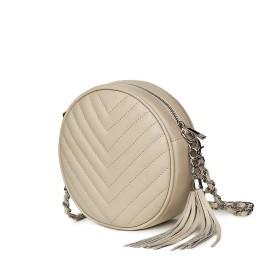 Кръгла капитонирана кожена чанта Zeta, светло бежова