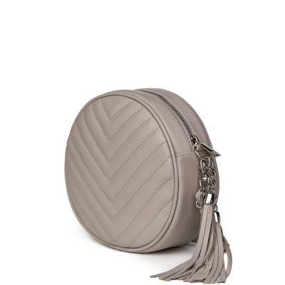 Кръгла капитонирана кожена чанта Zeta, сива