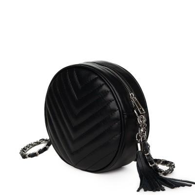 Кръгла капитонирана кожена чанта Zeta, черна